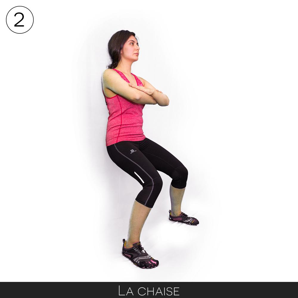 Exercice pour se muscler avant la randonnée : faire la chaise
