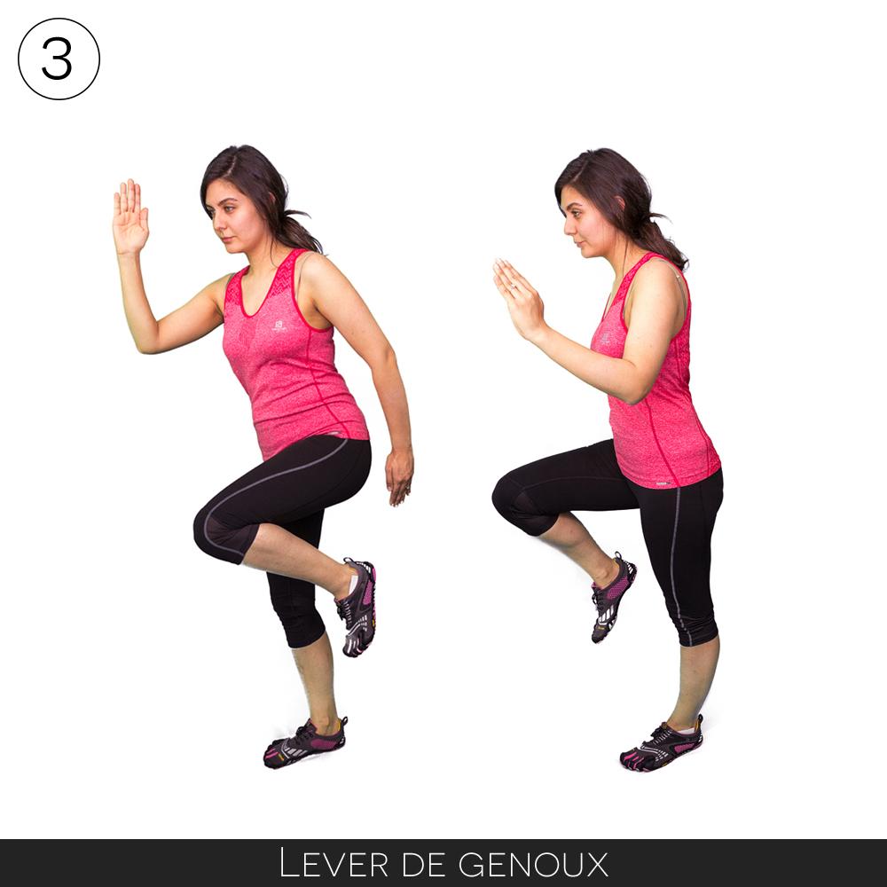 Exercice pour la rando : levé de genou
